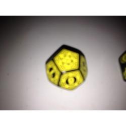Dado 12 amarillo con símbolos