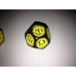 Dado 12 negro con símbolos...