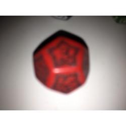 Dado 12 rojo con símbolos...