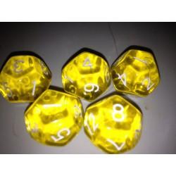 Dado 12 amarillo transparente.