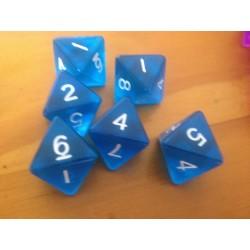 Dado 8 azul transparente .