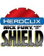 Figuras sueltas y material sellado del set Marvel Heroclix Nick Fury Agent of S.H.I.E.L.D.