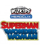Figuras sueltas y material sellado del set DC Heroclix Superman & Wonder Woman.