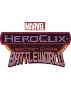 Figuras sueltas y material sellado del set Marvel Heroclix Secret Wars Battleworld.