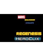 Figuras sueltas y material sellado del set Marvel Heroclix Wolverine vs Cyclops X-men Regenesis